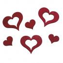Houten verstrooiende harten, 24 stuks