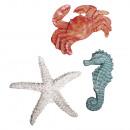 Zeedieren van polyresine, 3 stuks