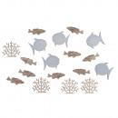 Pesce sparsi in legno + corallo, 20 pezzi