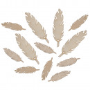 Natural wood feathers, 12 pieces