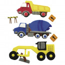 Deko-Sticker: Baufahrzeuge, 6 Stück
