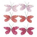 Deco Sticker: paper butterflies, coral, 6 pcs