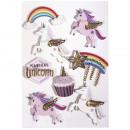 3D Paper Sticker Unicorn, 8 pezzi