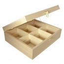 Wood Tea Box, FSC Mix Credit, 6 compartimentos,