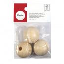 Raw wood balls FSC100% half drilled, 35mm ø, 3 pie