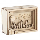 Wooden 3D gift box Birthday, FSCMixCred, natural,
