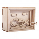 Holz 3D Geschenkbox Fisch, FSCMixCred, natur, 1