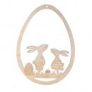 Wooden egg Easter friends, FSCMixCred, natural, 1
