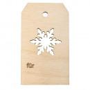 Houten hanger sneeuwvlok, FSCMixCred, natuurlijk,