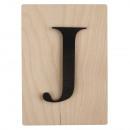 Wooden letter J, FSC Mixed Credit, black,