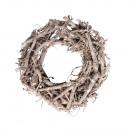 Wilgenkrans, wit geveegd, 30cm ø, middenbruin