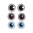 Stoffen opstrijkmotief Basic Eyes, 1, 8 cm ø, 3 pa