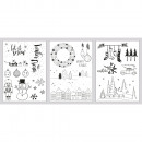 Window coloring pages Winter / Xmas, 1 set
