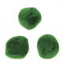 Pompons, green, 70 pieces