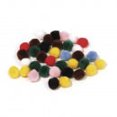 Pompons, mixed, 50 pieces