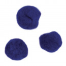 Pompons, dark blue, 65 pieces