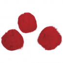 Pompoms, red, 35 pieces