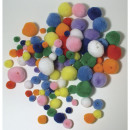 Pom poms to thread on, mixed, 100 pieces