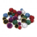 Metallic pompoms, mixed, 80 pieces