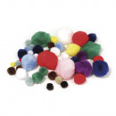 Pompoms, mixed, 100 pieces