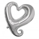 Corazón del globo de la hoja, silueta, 91cm ø, pla