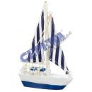 Segelboot, blau/weiß gestreifte Segel, ...