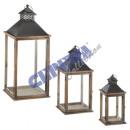 Großhandel Windlichter & Laternen:Laterne, 3er Set, braun