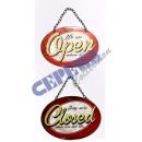 grossiste Fournitures de bureau equipement magasin: Plaque de porte ovale  OPEN / CLOSE