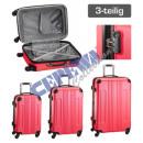 Großhandel Koffer & Trolleys: Trolley Kofferset 'Style', 3tlg, pink