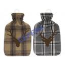 Hot water bottle 'deer', checkered, 2 / s,