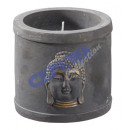 Candle in cement bowl ' Buddha ', 11 cmH