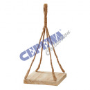 Wooden decoration tray, on jute rope, square, kl,