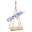 Wooden decoration tray, on jute rope, square, gr,