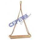 Deco bowl wood, on jute rope, rectangular, small,