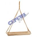 Deco bowl wood, on jute rope, rectangular, large,