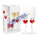 wholesale Drinking Glasses: Champagne Glass Heart , set of 2, about 200ml