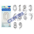 wholesale Garden & DIY store: Foil balloon   numbers , 1-10, 10 / s, ca.45cm, sil