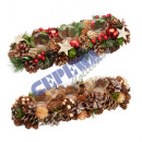 Christmas deco wreath red / nature with 3 glasses,