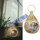 Metal lantern lantern with glass, mandala, small,