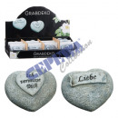 Grave Deco heart with saying, 2 / s, ca.6cm
