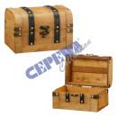 Truhen Koffer, Holz, 2er Set, kl., braun