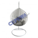 Hanging chair made of rattan with metal frame, whi