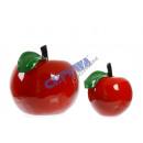 grossiste Fleurs artificielles: Sculpture  pomme   rouge à haute brillance, M, 20cm