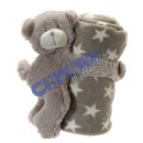 wholesale Child and Baby Equipment: Cuddle blanket with bear, gray, approx. 75x75cm
