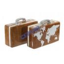 nagyker Koffer és Trolley: Persely 'bőrönd', barna, 2 / s