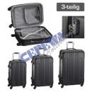 Großhandel Koffer & Trolleys: Trolley Kofferset 'Style', 3tlg, schwarz