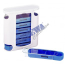 Pillenbox, deluxe, weiß/blau, 7 Tage, ca. 13cmH