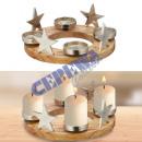 Adventsleuchter, Stern mit Holz, rund, ca. 30cmD