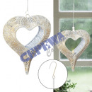 wholesale Candles & Candleholder: Hanging lantern, heart, white / gold, about 24cmH