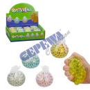 Großhandel Bälle & Schläger: Quetschball im Netz, Glitzer, 4/s ca. 5,5cmD
